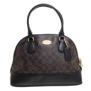 Coach Brown/Black Signature Coated Canvas and Leather Cora Domed Satchel