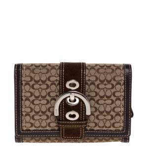 Coach Brown Signature Buckle Flap Compact Wallet