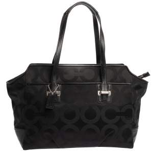 Coach Black Op Art Canvas and Leather Alexis Carryall Shoulder Bag
