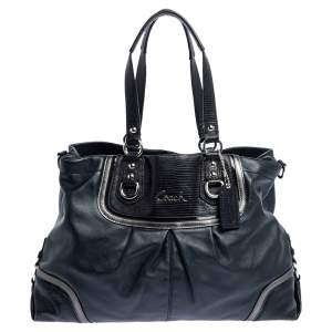 Coach Black Leather Ashley Satchel