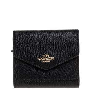 Coach Black Leather Colorblock Trifold Wallet