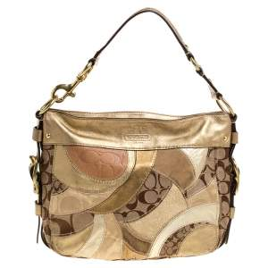 Coach Beige/Metallic Signature Patched Canvas and Leather Hobo