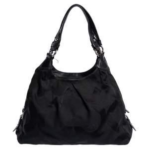 Coach Black Signature Canvas and Leather Shoulder Bag