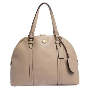 Coach Beige Leather  Cora Dome Satchels