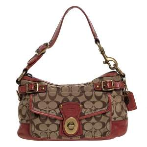 Coach Beige/Pale Red Signature Canvas and Leather Hobo