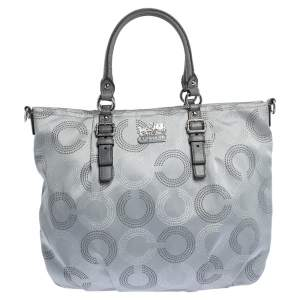 Coach Metallic Grey Op Art Nylon and Leather Satchel