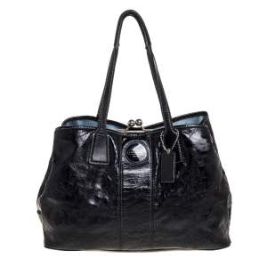 Coach Black Patent Leather Kisslock Satchel