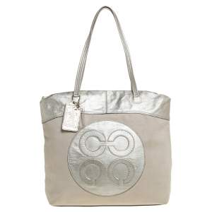 Coach Metallic Gold Canvas and Leather Tote