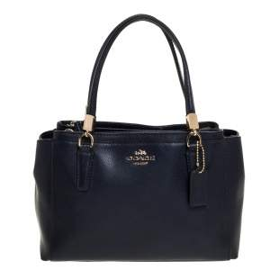 Coach Navy Blue Leather Mini Christie Carryall Satchel