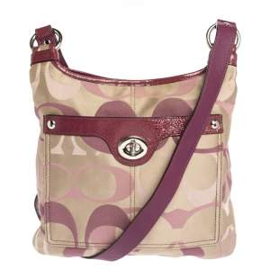 Coach Beige/Purple Canvas and Patent Leather Crossbody Bag