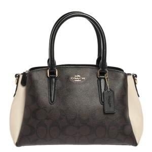 Coach Tri Cololr Signature Coated Canvas and Leather Mini Christie Carryall Bag