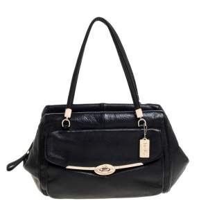 Coach Black Leather Madeline East/West Satchel