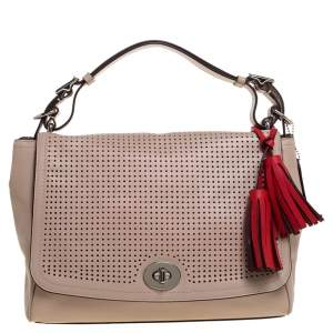 Coach Blush Pink Perforated Leather Legacy Romy Top Handle Bag w/ Wallet