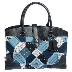 Coach Black/Blue Leather and Denim Patchwork Tote