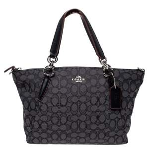 Coach Grey/Black Canvas and Leather Small Kelsey Tote