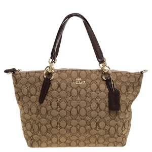 Coach Beige/Brown Canvas and Leather Small Kelsey Top Handle bag