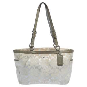 Coach Beige/Silver Canvas and Leather Gallery Lurex Tote