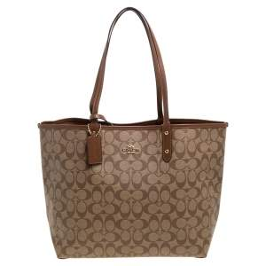 Coach Beige/Brown Coated Canvas and Leather Reversible City Tote