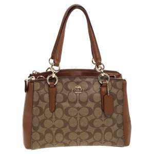 Coach Brown Signature Coated Canvas and Leather Mini Christie Carryall Satchel