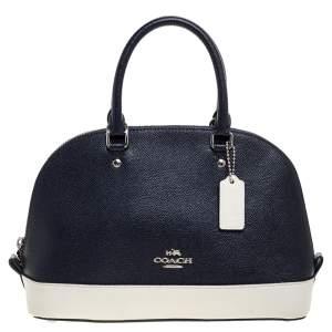 Coach Navy Blue/White Leather Mini Sierra Satchel