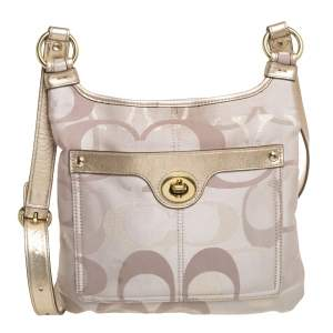 Coach Beige Signature Canvas and Leather Crossbody Bag
