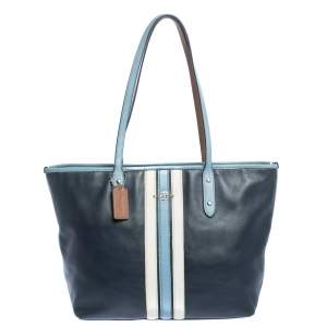 Coach Navy Blue Striped Leather Tote