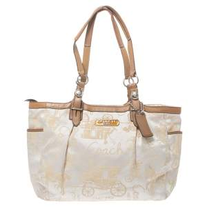 Coach Beige/Tan Horse and Carriage Canvas and Leather Bag