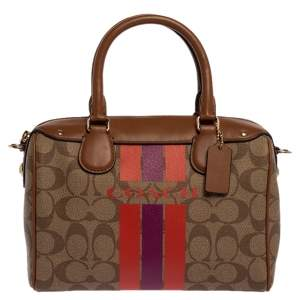 Coach Brown Signature Coated Canvas and Leather Mini Bennett Satchel