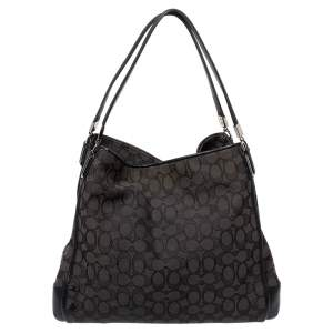 Coach Black Signature Canvas and Leather Edie Hobo