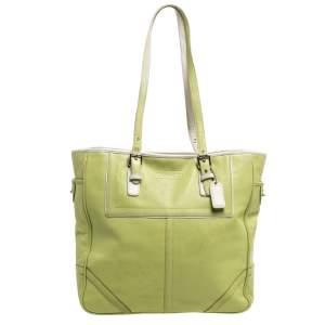 Coach Light Green Leather East West Gallery Tote