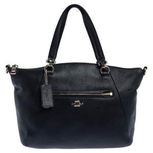 Coach Black Pebbled Leather Prairie Satchel