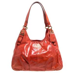 Coach Orange Patent Leather Maggie Shoulder Bag