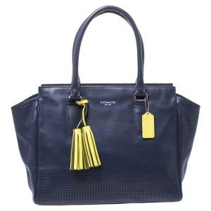 Coach Navy Blue/Green Perforated Leather Candace Caryall Tote