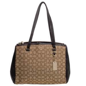 Coach Beige/Brown Canvas and Leather Stanton Carryall Tote