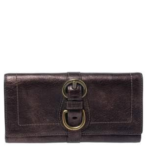 Coach Metallic Brown Leather Buckle Trifold Wallet