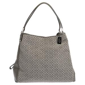 Coach Grey Signature Canvas and Leather Edie Shoulder Bag
