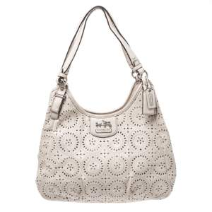 Coach Ivory Laser Cut Leather Maggie Shoulder Bag