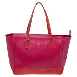 Coach Fuchsia/Red Leather Shopper Tote