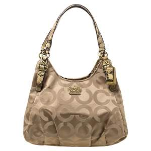 Coach Beige Signature Canvas and Snakeskin Effect Leather Hobo