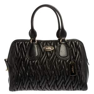 Coach Black Matelasse Leather Nolita Satchel