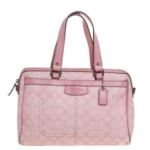 Coach Pink Signature Coated Canvas and Leather Satchel