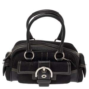 Coach Black Signature Canvas and Leather Soho Side Pocket Satchel