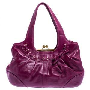 Coach Purple Leather Ergo Lace Frame Shoulder Bag