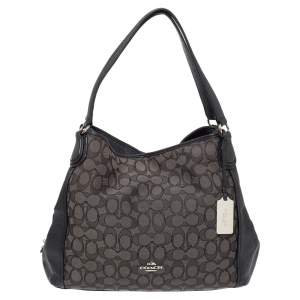 Coach Black Signature Canvas Edie 31 Shoulder Bag