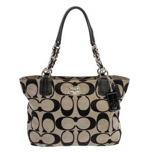 Coach Grey/Black Signature Canvas and Leather Tote