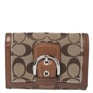 Coach Brown Signature Canvas and Leather Buckle Flap Compact Wallet
