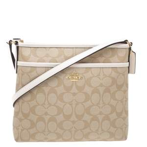 Coach Beige/Cream Signature Coated Canvas and Leather Messenger Bag