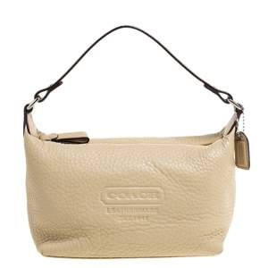 Coach Beige Grained Leather Pochette Bag