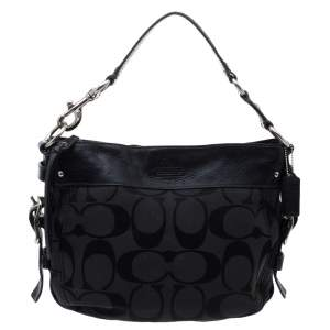Coach Black Signature Canvas and Leather Zoe Hobo