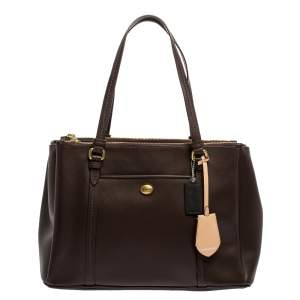 Coach Dark Brown Leather Double Zip Tote